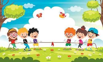 crianças engraçadas brincando de puxar corda. crianças engraçadas brincando de puxar corda vetor