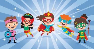 pequenos super-heróis de desenho animado posando vetor