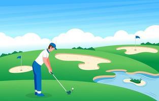 jogador de golfe masculino no campo de golfe vetor