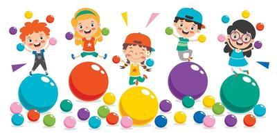 crianças engraçadas brincando com bolas coloridas vetor