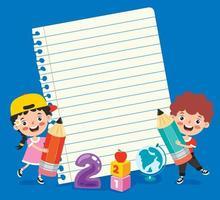 papel de nota em branco para educação infantil vetor