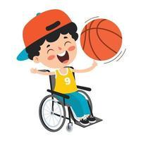 desenho animado criança deficiente posando vetor