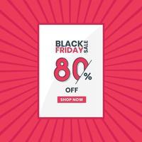 banner de vendas black friday 80 por cento de desconto promoção black friday oferta de 80 por cento de desconto vetor