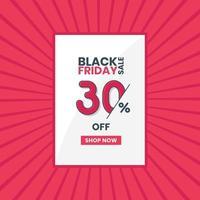 banner de vendas da black friday 30% de desconto promoção da black friday oferta de 30% de desconto vetor
