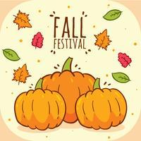 Vetor de festival de outono de abóboras