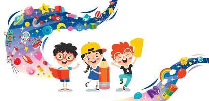 conceito de educação com crianças engraçadas vetor