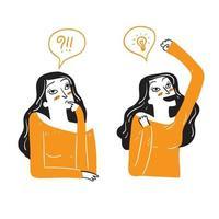 uma linda mulher está pensando e então tendo uma boa ideia vetor