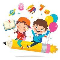 crianças engraçadas voando em lápis colorido vetor