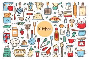 elementos de cozinha fofo doodle clipart de vetor desenhado à mão