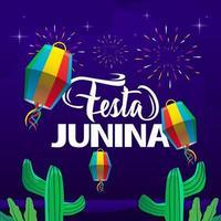 desenho de banner modelo festa junina quadrada vetor