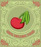 rótulo vintage com cereja e letras 100% alimentos orgânicos vetor