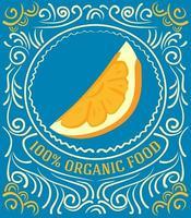rótulo vintage com laranja e letras de alimentos 100% orgânicos vetor