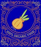 rótulo vintage com cebola e letras 100% alimentos orgânicos vetor