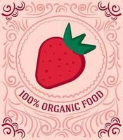 rótulo vintage com morangos e letras 100% alimentos orgânicos vetor