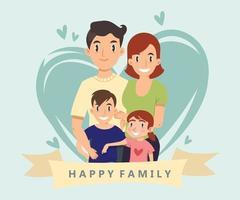 desenho de estilo de desenho animado de família feliz vetor