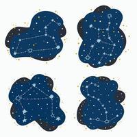 definir signos fofos do zodíaco da constelação leo virgo libra escorpião rabiscando estrelas e pontos desenhados à mão no espaço abstrato vetor