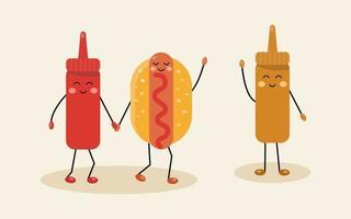 Fofinho cachorro-quente com ketchup e mostarda, personagens kawaii, comida de vetor