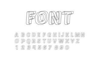 Números e símbolos de letras de fonte do alfabeto geométrico 3D vetor
