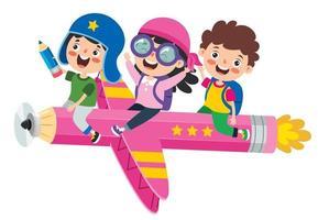 garoto engraçado voando em lápis colorido vetor
