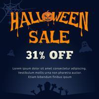 Tipografia de venda de Halloween e fundo assustador vetor