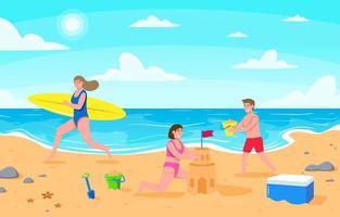 pessoas na praia durante o verão vetor