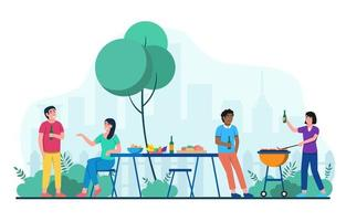 piquenique em família churrasco em parque ao ar livre vetor