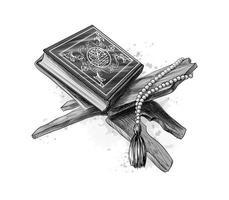 livro sagrado do Corão com rosário feriado muçulmano eid mubarak eid al fitr ramadan kareem esboço desenhado à mão ilustração vetorial de tintas vetor