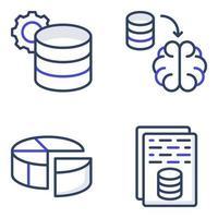pacote de ícones planos de banco de dados vetor