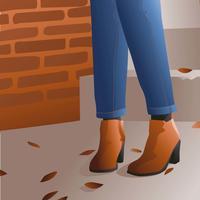 Couro de Botas de Outono vetor