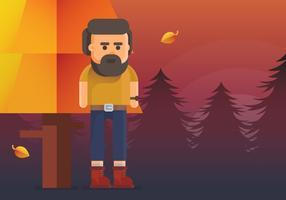 Homem barbudo com botas de outono vetor