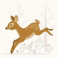 cervo fofo correndo na floresta vetor