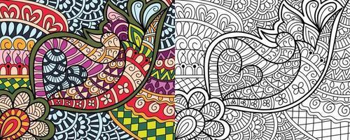 Desenhos de desenhos zentangle para colorir desenhos de desenhos para adultos e crianças anti-estresse vetor