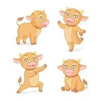 conjunto de vetor de desenho animado bebê boi em várias poses