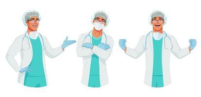 conjunto de vetores de médico feliz com chapéu de máscara e luvas