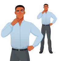 Homem de negócios negro intrigado pensando com a mão no queixo do personagem de desenho animado vetor