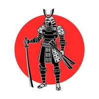 samurai segurando uma espada na frente do círculo vermelho vetor