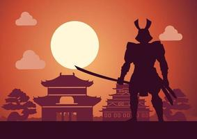 cavaleiro do Japão chamado samurai posa em frente ao pagode vetor