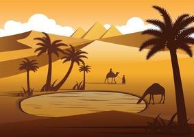 camelo bebendo água em oásis deserto perto de pirâmides vetor