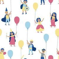 padrão sem emenda de crianças com balões em fantasias de carnaval vetor