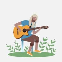 o homem canta e toca violão vetor