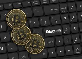 bitcoin com teclado preto vetor