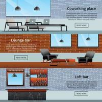 ilustração vetorial coleção lounge loft banners vetor