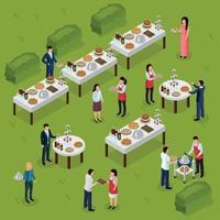 ilustração em vetor composição isométrica para catering