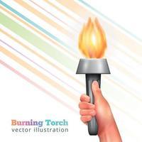 ilustração vetorial de fundo de tocha de mão realista vetor