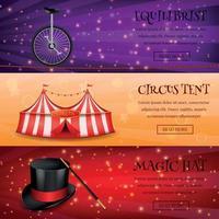 ilustração em vetor coleção de banners de circo mágico