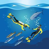 ilustração vetorial de composição de pesquisa de profundidades subaquáticas vetor