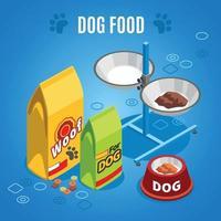 ilustração em vetor composição isométrica de comida de cachorro