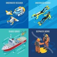 ilustração em vetor conceito isométrico de pesquisa de profundidade submarina