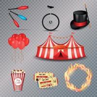 ilustração vetorial conjunto de elementos essenciais de circo vetor