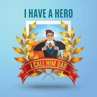 ilustração vetorial de composição de super-herói pai vetor